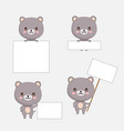 cute bear animal with blanks for text in cartoon s vector image vector image