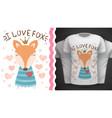 cute fox - idea for print t-shirt vector image