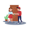 delivery boy handing pizza boxes to girl young vector image