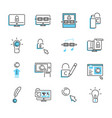 digital copyright outline icon collection set vector image vector image