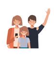 family waving avatar character vector image vector image