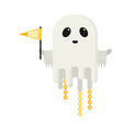 flat ghost with flag isolated on white background vector image vector image