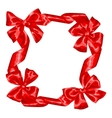 Frame with red satin gift bows and ribbons vector image