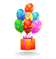 Gift box and flying balloons vector image vector image