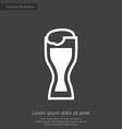glass of beer premium icon white on dark backgroun vector image vector image