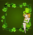 green clover and girl vector image vector image