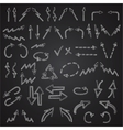 Hand drawn arrows icons set isolated on blackboard vector image vector image