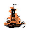 holiday label for halloween with castle vector image vector image