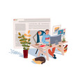 home office in quarantine time coronavirus vector image vector image