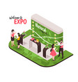 isometric expo stand composition vector image vector image