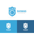 laundry and shield logo combination vector image vector image