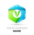 letter v logo symbol in colorful hexagonal vector image vector image
