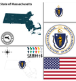 map massachusetts with seal vector image vector image