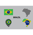 Map of Brazil and symbol vector image vector image