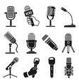 microphone silhouette modern and old vintage mic vector image