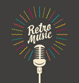 retro music poster with a decorative microphone vector image vector image