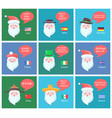 santa clauses on festive posters with greetings vector image