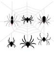 scary black halloween spider set vector image vector image