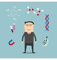 Scientist and science elements icons vector image vector image