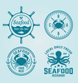 seafood restaurant emblems or badges vector image vector image