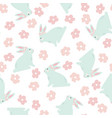 seamless pattern with bunny and flowers vector image vector image