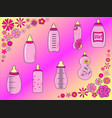 set of baby bottles for girl in vector image