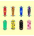 Set of skateboards on light yellow background vec vector image