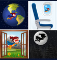 set of super hero with background vector image