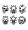 set skull and exotic tropical flowers vector image vector image
