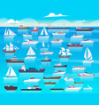 ship in sea sailing boats and passenger cruise vector image vector image