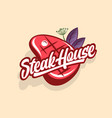 steak house logo butchery shop restaurant vector image