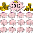 stylish calendar pig piggy bank for 2012 sundays f vector image vector image