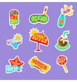 Summer Beach Holidays Stickers With Text Set vector image vector image