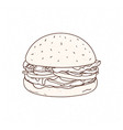 tasty hamburger hand drawn with contour lines