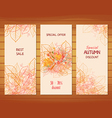 Three autumn banners with stylized autumn leaves vector image vector image
