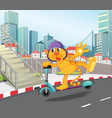 tiger riding in the city vector image vector image
