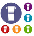 trash can with handles icons set vector image vector image