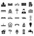 urban hobby icons set simple style vector image vector image