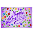 violet greeting card Happy Birthday tulip vector image