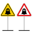 Warning sign attention ghost Hazard yellow sign vector image