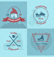 winter sports emblems 2x2 vector image