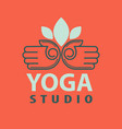 yoga studio logotype with open palms isolated vector image