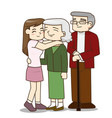 happy family senior couple with pretty daughter vector image