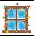 window decoration christmas lights garlands vector image