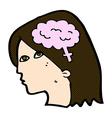 comic cartoon female head with brain symbol vector image