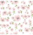 Watercolor pink flowers seamless pattern over vector image