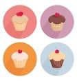 Cake flat icon set isolated on white background vector image