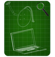 3d model of satellite dish and laptop on a green vector image vector image