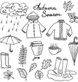 Autumn season set doodles elements Hand drawn set vector image vector image