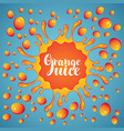 banner orange juice juice splashes and drops vector image vector image